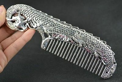 Orient Old Collectibles Handwork Tibet- Silver  White Copper Dragon Comb
