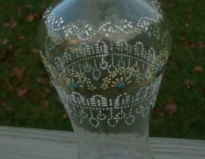 ANTIQUE VICTORIAN ENAMEL HAND PAINTED GLASS DECANTER