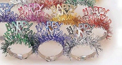 6 Assorted Foil Glitter Tiaras with Fringe Party Supplies New Years Eve