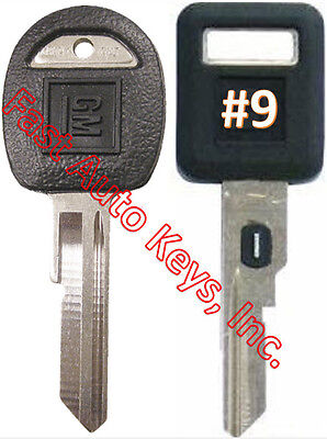 NEW GM Single Sided VATS Ignition Key #9 + Doors/Trunk OEM Key  - MADE IN USA
