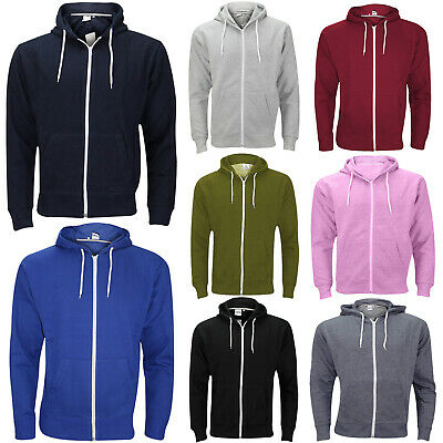New Plain Mens American Fleece Zip Up Hoody Jacket Sweatshirt Hooded Zipper Top