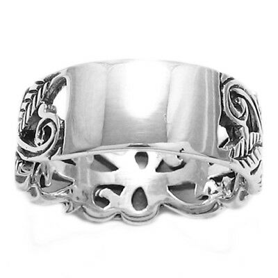 Sterling Silver Engraveable Plate w/Intricate Floral Design Band Ring Size 6.5-9