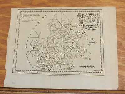 cJuly 1760 Antique Map//COUNTY MONTGOMERY, WALES//London Magazine