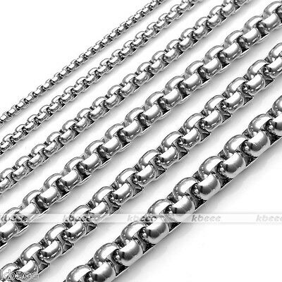 """2-7mm Punk Men's 316L Silvery Stainless Steel Necklace Box Chain Jewelry 20-24"""""""