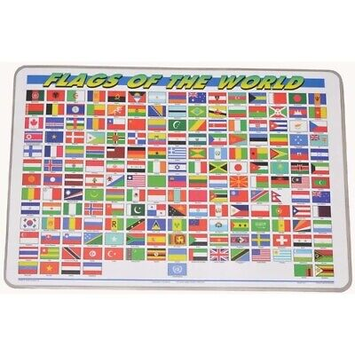 INTERNATIONAL FLAGS Educational LEARN Geography Homeschool WIPE-OFF PLACEMAT NEW