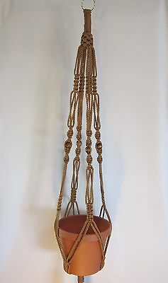 Macrame Plant Hanger 44in Vintage Style - CINNAMON CORD - with BEADS