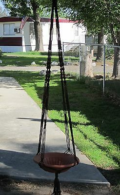 Macrame Plant Hanger 72in Vintage  Brown - with Beads