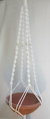 Macrame Plant Hanger 52in Deluxe- WHITE Cord with WHITE BEADS