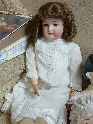 """Antique Bisque Head Doll Queen Louise 25"""" AM/Wolf Compo Body Gorgeous Bisque/Wig"""