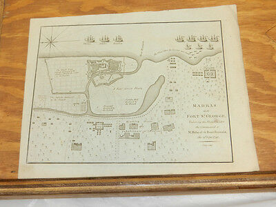 1781 Antique Map//BATTLE AT MADRAS AND FORT ST. GEORGE, INDIA, IN 1746