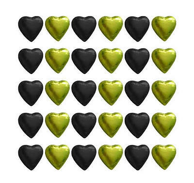 100 Black And Yellow Gold Milk Chocolate Hearts - Wedding Parties Favours
