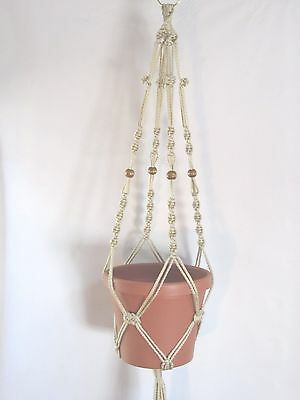 MACRAME PLANT HANGER 34in Button Knot with Beads **CHOOSE COLOR**