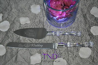 Our Wedding Cake Knife And Server Set Engraved W/ Wedding Bell And Ring Designs