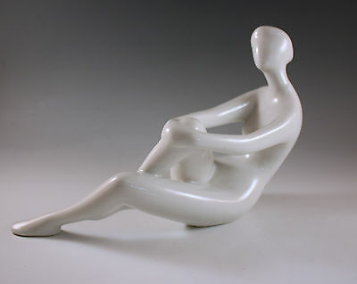 Mid Century Modern  Royal Dux, Sitting Nude Female Porcelain Sculpture