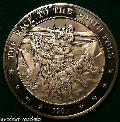 THE RACE TO THE NORTH POLE 1909 FRANKLIN MINT BRONZE MEDAL
