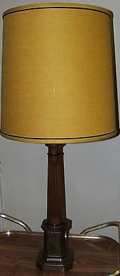 """VTG FREDERICK COOPER Brass & Wood Light Table Lamp 37"""" Tall Gold Fabric Shade"""