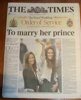 Times London Royal Wedding Edition Newspaper Prince William & Kate Middleton