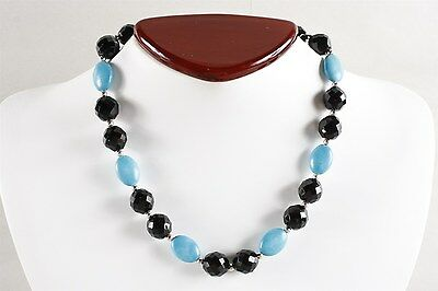 Vivid & Sparkling Large Vintage Faceted Jet with Blue Chunk Turquoise Necklace