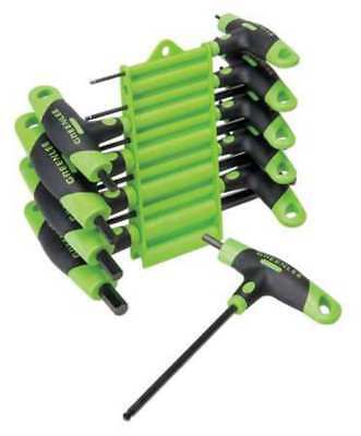 GREENLEE 0254-40 Hex Key Set,3/32-3/8 In.,T-Handle,Molded