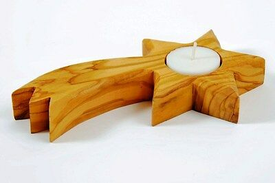 1 Shooting Star Olive Wood Candle Holder