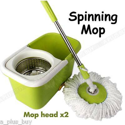 Magic 360 Degree Rotating Spin Dry Rinse Clean Mop with Bucket Free Spare Head