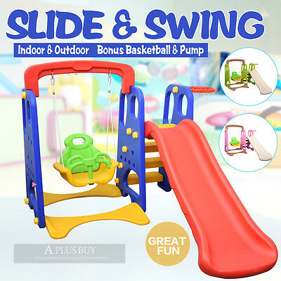 Kids Toddler Fun Swing Slide Activity Set Basketball Indoor Outdoor Blue Red