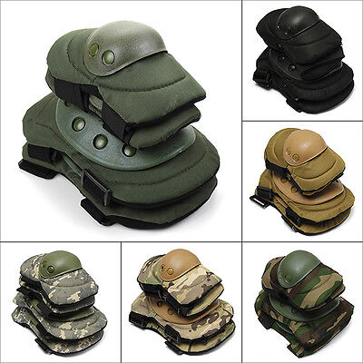 Adjustable Airsoft Tactical Combat Protective Gears Knee+Elbow Pad Skate Pads UK