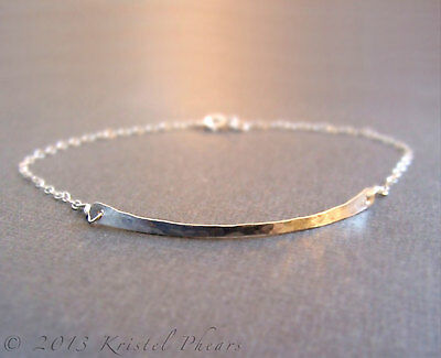 Hammered Bar Bracelet .925 Sterling Silver, recycled silver, Artisan Made in USA