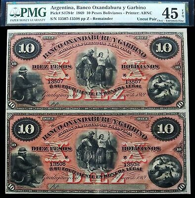 1869 Argentina 10 Pesos Uncut Pair Oxanaburu Y Garbino Bank Notes Pmg 45 Ch Ef
