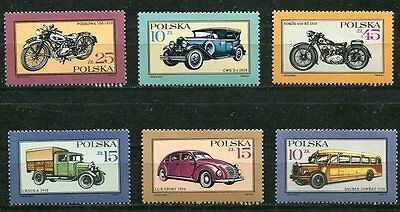 Poland 1987 Classic  Cars - Motorcycles - Trucks - Buses  Mint Complete Set!