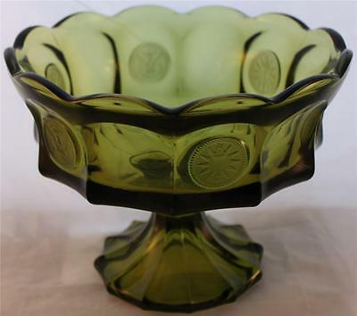 Fostoria Olive Green Coin Glass Compote Candy Bowl Vessel Mid-Century