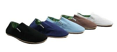 Mens Zasel Cotton Canvas Easy Slip On Flat Black Brown White Blue Casual Shoes