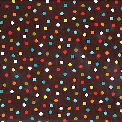 Colourful Spots Dots on Brown Laminated Pul Waterproof Cotton Fabric FQ NEW