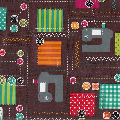 Sewing Design Machines Buttons Laminated Pul Waterproof Cotton Fabric FQ NEW