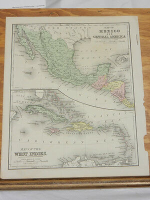 c1860 Antique Map//MEXICO, CENTRAL AMERICA, WEST INDIES