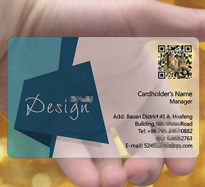 Navy Blue 200pc Frosted Transparent PVC Plastic Business Cards Full Colors Print