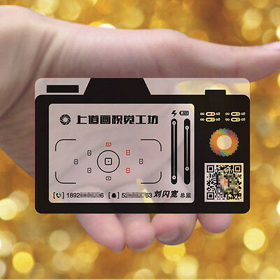Camera Style 200pc Frosted Transparent PVC Plastic Business Cards Colors Print