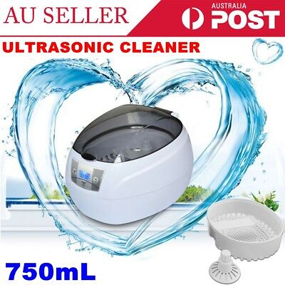 750ml Digital Ultrasonic Jewelry Glass Watch Cleaner Timer Cleaning Machine AU