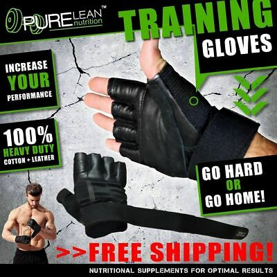 Gym Gloves Weight Lifting Leather Gloves With Wrist Support Fitness Crossfit