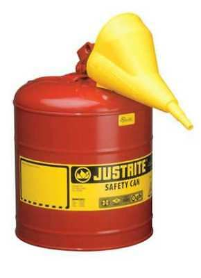 JUSTRITE 7150110 Type I Safety Can,5 gal.,Red,16-7/8In H