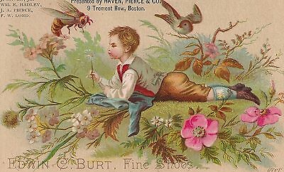 Edwin C. Burt Fine Shoes Haven, Pierce & Co. Boston MA Trade Card 1881