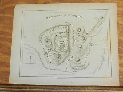 1809 Antique Map//JERUSALEM AND ITS ENVIRONS