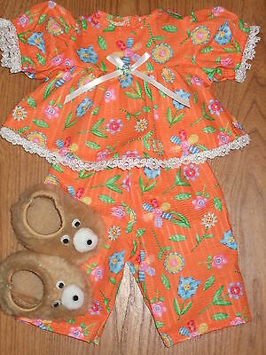 """FOR CABBAGE PATCH KIDS 16"""" GIRL DOLL CLOTHES FLOWER SEERSUCKER PAJAMAS SLIPPERS"""