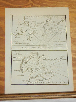 1801 Antique Map//PLAN OF TOULON, ROCHFORT, ROCHE, FRANCE///b