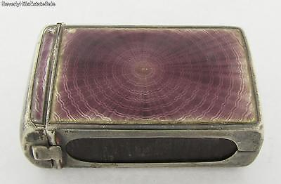 Antique Sterling Silver Purple Two Sided Guilloche Enamel Match Box 1916