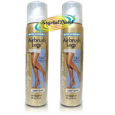 2x Sally Hansen Airbrush Air Brush Legs Spray LIGHT GLOW 75ml
