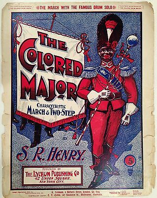 "1900 BLACK AMERICANA SHEET MUSIC ""THE COLORED MAJOR""  COVER ONLY"