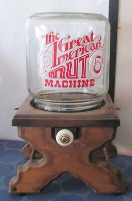 Great American Nut Machine NICE 5 cent with wooden base & glass jar