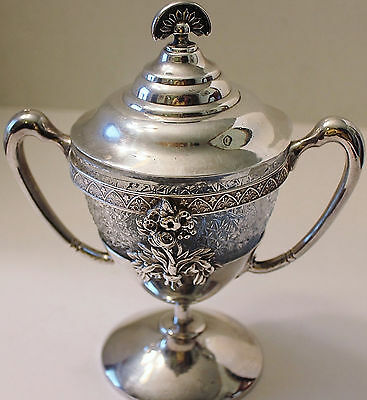ANTIQUE TREE OF LIFE AURORA SILVERPLATE LARGE  SUGAR BOWL SWAN HANDLES 1850-1899