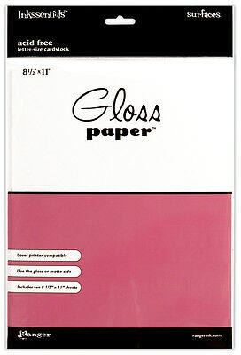 """Glossy Cardstock 8.5""""X11"""" 10/Pkg-White by Inkssentials"""
